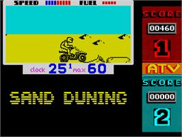 In game image of ATV Simulator on the Sinclair ZX Spectrum.