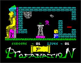 In game image of Abu Simbel Profanation on the Sinclair ZX Spectrum.