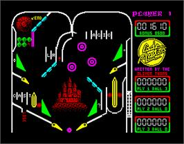 In game image of Advanced Pinball Simulator on the Sinclair ZX Spectrum.