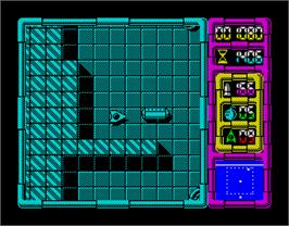 In game image of Afteroids on the Sinclair ZX Spectrum.