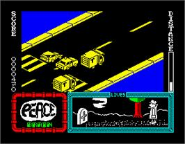 In game image of Agent X II: The Mad Prof's Back! on the Sinclair ZX Spectrum.