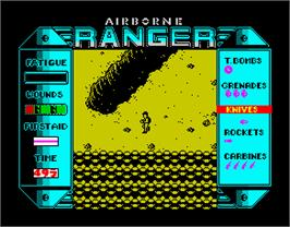 In game image of Airborne Ranger on the Sinclair ZX Spectrum.