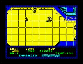 In game image of Alien Syndrome on the Sinclair ZX Spectrum.