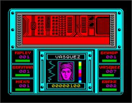 In game image of Aliens: The Computer Game on the Sinclair ZX Spectrum.