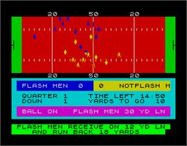 In game image of American Football on the Sinclair ZX Spectrum.