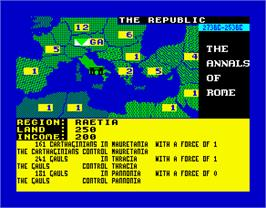 In game image of Annals of Rome on the Sinclair ZX Spectrum.