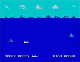 In game image of Aquaplane on the Sinclair ZX Spectrum.