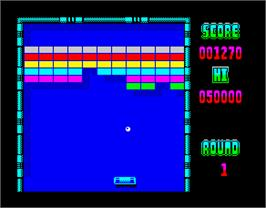 In game image of Arkanoid on the Sinclair ZX Spectrum.