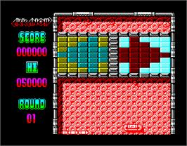 In game image of Arkanoid 2: Revenge of Doh on the Sinclair ZX Spectrum.