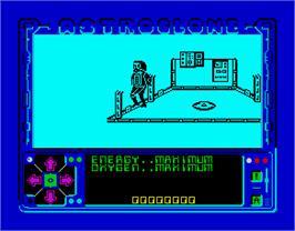 In game image of Astroclone on the Sinclair ZX Spectrum.