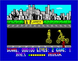 In game image of BMX Ninja on the Sinclair ZX Spectrum.
