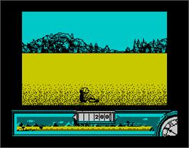 In game image of Back to the Future Part III on the Sinclair ZX Spectrum.