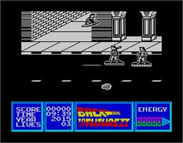 In game image of Back to the Future Part II on the Sinclair ZX Spectrum.