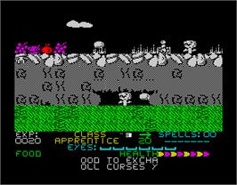 In game image of Bank Panic on the Sinclair ZX Spectrum.