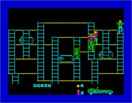 In game image of Bear Bovver on the Sinclair ZX Spectrum.