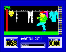 In game image of Benny Hill's Madcap Chase on the Sinclair ZX Spectrum.