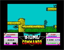 In game image of Bionic Commando on the Sinclair ZX Spectrum.