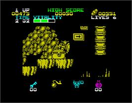 In game image of Black Tiger on the Sinclair ZX Spectrum.