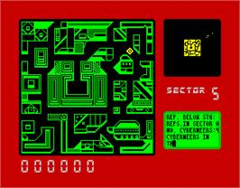 In game image of Blade Runner on the Sinclair ZX Spectrum.