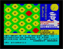 In game image of Blockbusters on the Sinclair ZX Spectrum.
