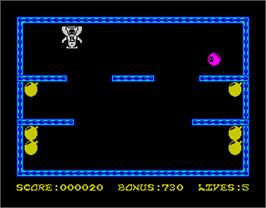 In game image of Bomber Bob In Pentagon Capers on the Sinclair ZX Spectrum.