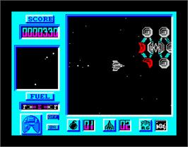 In game image of Bosconian '87 on the Sinclair ZX Spectrum.