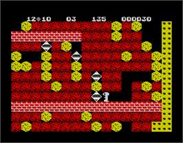 In game image of Boulder Dash on the Sinclair ZX Spectrum.