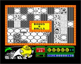 In game image of Bounder on the Sinclair ZX Spectrum.
