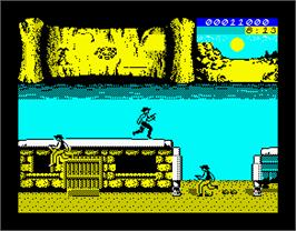 In game image of BraveStarr on the Sinclair ZX Spectrum.