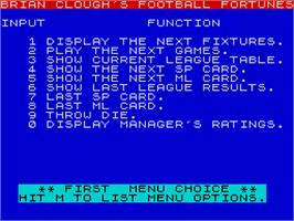 In game image of Brian Clough's Football Fortunes on the Sinclair ZX Spectrum.
