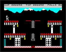 In game image of Bruce Lee on the Sinclair ZX Spectrum.
