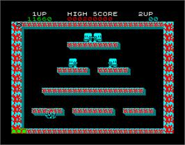 In game image of Bubble Bobble on the Sinclair ZX Spectrum.