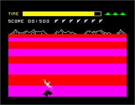 In game image of Buck Rogers: Planet of Zoom on the Sinclair ZX Spectrum.