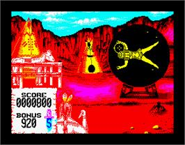 In game image of Buffalo Bill's Wild West Show on the Sinclair ZX Spectrum.