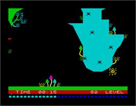 In game image of Bugaboo (The Flea) on the Sinclair ZX Spectrum.