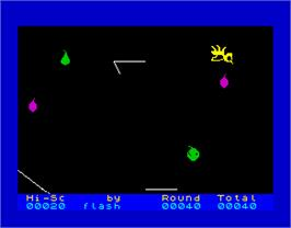 In game image of Buzz Off! on the Sinclair ZX Spectrum.