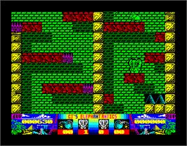 In game image of CJ's Elephant Antics on the Sinclair ZX Spectrum.