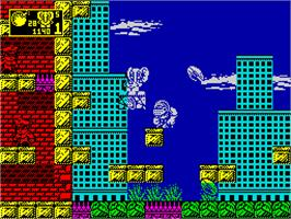 In game image of CJ In the USA on the Sinclair ZX Spectrum.