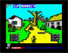 In game image of Cabal on the Sinclair ZX Spectrum.