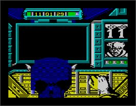 In game image of Captain America Defies the Doom Tube on the Sinclair ZX Spectrum.