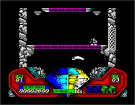 In game image of Captain Dynamo on the Sinclair ZX Spectrum.