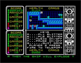 In game image of Captain Fizz Meets the Blaster-Trons on the Sinclair ZX Spectrum.