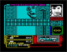 In game image of Carlos Sainz on the Sinclair ZX Spectrum.