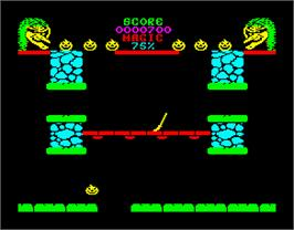 In game image of Cauldron II: The Pumpkin Strikes Back on the Sinclair ZX Spectrum.
