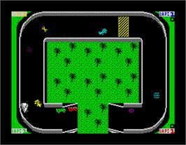 In game image of Championship Sprint on the Sinclair ZX Spectrum.