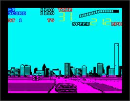 In game image of Chase H.Q. II: Special Criminal Investigation on the Sinclair ZX Spectrum.