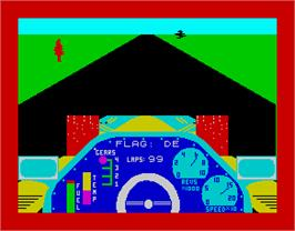 In game image of Chequered Flag on the Sinclair ZX Spectrum.