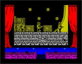 In game image of Chichén Itzá on the Sinclair ZX Spectrum.