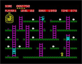In game image of Chuckie Egg on the Sinclair ZX Spectrum.