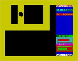 In game image of Chuckman on the Sinclair ZX Spectrum.